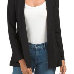 Petite Washable Stretch Crepe Long Jacket   TJ Maxx