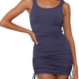 TECREW Womens Ruched Bodycon Dress Sleeveless Drawstring Club Mini Tank Dress   Amazon (US)