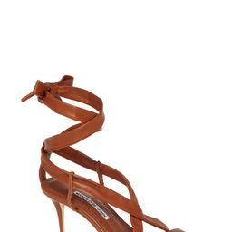 Women's Manolo Blahnik Tor Ankle Wrap Sandal, Size 8.5US / 38.5EU - Brown | Nordstrom