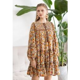 Puff Sleeve Ditsy Floral Dolly Dress   Chicwish