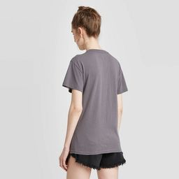 Women's Rolling Stones Multi Logo Short Sleeve Boyfriend Graphic T-Shirt - Gray | Target