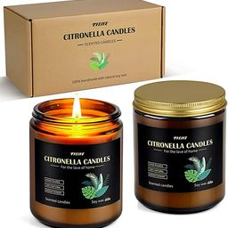 Citronella Candles Outdoor Indoor, Large Scented Jar Candles Gift Set up to 100 Hours Burning, So... | Amazon (US)