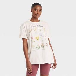Women's Zodiac Floral Chart Short Sleeve Oversized Graphic T-Shirt - White | Target