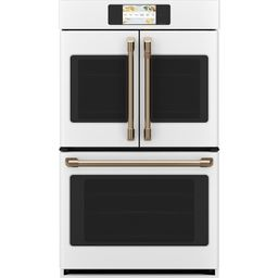Cafe 30 in. Smart Double Electric French-Door Wall Oven with Convection Self Cleaning in Matte Wh... | The Home Depot