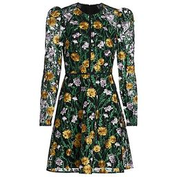 Floral Embroidered Puff-Sleeve Mesh Dress | Saks Fifth Avenue