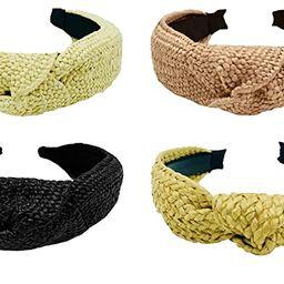 LUX TRENDS Set of 4 Straw Raffia Top Knot Headbands for Women Girls Hair Braided Headbands Knotte... | Amazon (US)