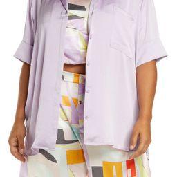 Satin Camp Button-Up Shirt   Nordstrom