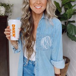 Monogram Denim Button Down -- Embroidered, Bridal Party, Shacket   Etsy (US)