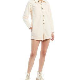 Vera Long Sleeve Button-Down Denim Romper   Dillards