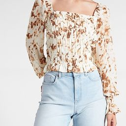 Printed Smocked Square Neck Top | Express