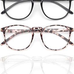 IBOANN 3 Pack Blue Light Blocking Glasses Women/Men, Round Fashion Retro Frame, Vintage Fake Eyeg... | Amazon (US)