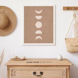 Moon Phases Print Boho Wall Decor Neutral Tone Print Boho | Etsy | Etsy (US)