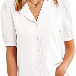 GRACE KARIN Women's Puff Sleeve Tops Button Down Blouse Casual Short Sleeve for Summer Business S... | Amazon (US)