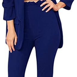 SheIn Women's Two Piece Open Front Long Sleeve Blazer and Elastic Waist Solid Pant Set Suit   Amazon (US)