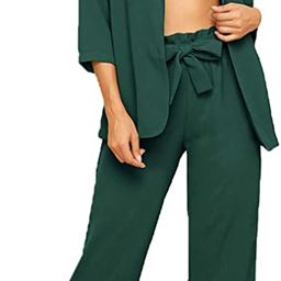 SheIn Women's 2 Piece Outfit Notched Neck 3/4 Sleeve Blazer and Wide Leg Belted Pants Set | Amazon (US)