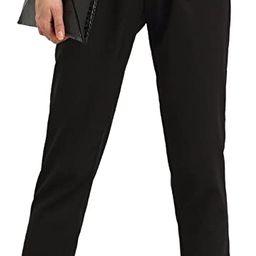 SweatyRocks Women's Elastic Belted High Waist Casual Loose Long Pants with Pocket | Amazon (US)