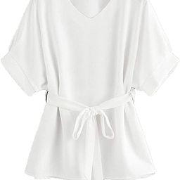 Milumia Women's Casual V Neckline Short Sleeve Self Tie Dressy Work Blouse Tunic Tops   Amazon (US)