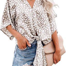 Farktop Womens Floral V Neck Tie Knot Front Blouses Bat Wing Short Sleeve Chiffon Tops Shirts | Amazon (US)