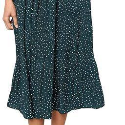 EXLURA Womens High Waist Polka Dot Pleated Skirt Midi Swing Skirt with Pockets | Amazon (US)
