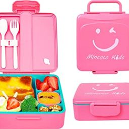 MINCOCO Kids Bento Lunch Box - Lunch Container with Sauce Jar, Spoon&Fork 4-Compartment, On-the-G...   Amazon (US)