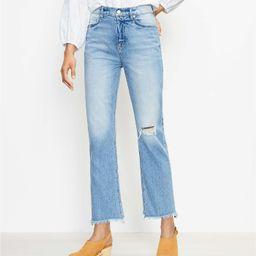 Frayed High Rise Straight Crop Jeans in Staple Dark Indigo Wash | LOFT