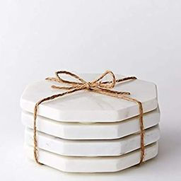 Marble Stone Coasters Hexagon Set of 4 - White Drink Coasters Fits Any Size Wine Glasses, Cups, M... | Amazon (US)