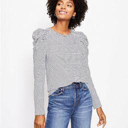 Striped Pleated Puff Sleeve Top | LOFT