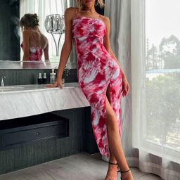 Tie Dye Split Thigh Cami Dress | SHEIN