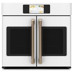Cafe 30 in. Smart Single Electric French-Door Wall Oven with Convection Self-Cleaning in Matte Wh... | The Home Depot