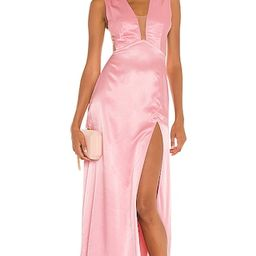 Genevie Satin Gown in Pink | Revolve Clothing (Global)