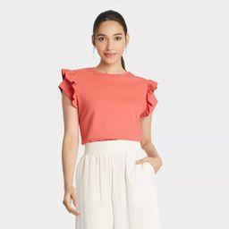 Women's Flutter Short Sleeve Ruffle T-Shirt - A New Day™ | Target