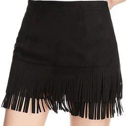 Relish Noless Women Fringe Skirt High Waist Cute Tassel Short Skirt Bodycon Faux Suede Mini Swing Sk | Amazon (US)