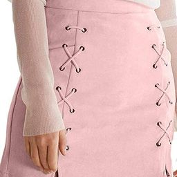 katiewens Women's Classic High Waist Lace Up Bodycon Faux Suede A Line Mini Pencil Skirt | Amazon (US)