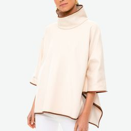 Ivory Pearl Leather Trim Funnel Neck Piper Poncho | Tuckernuck (US)