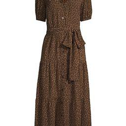 Cheetah Tiered V-Neck Midi Dress | Saks Fifth Avenue