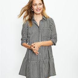 Plaid Tiered Pocket Shirtdress | LOFT