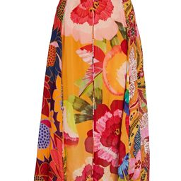 Farm Rio Banana Floral Midi Skirt, Orange/Pink P | INTERMIX