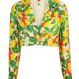 Farm Rio Orange Sands Cropped Linen Blazer, Yellow/Green M | INTERMIX