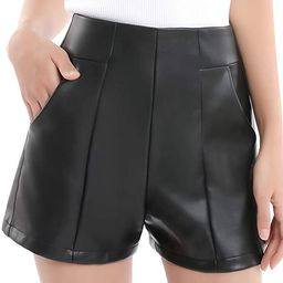 Everbellus Womens High Waisted Faux Leather Shorts with Pockets Wide Leg Shorts   Amazon (US)