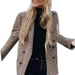 Fashion Women Plaid Blazer Coat Retro Stripe Print Button Shoulder Pads Suit Coats Sunmoot | Amazon (US)