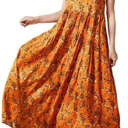 YESNO Women Casual Loose Bohemian Floral Print Dresses Spaghetti Strap Long Summer Beach Swing Dress   Amazon (US)