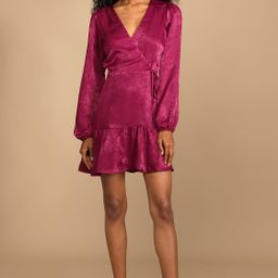So Splendid Magenta Purple Satin Long Sleeve Wrap Dress   Lulus (US)