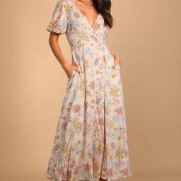 Flourishing Feelings Pink Floral Print Puff Sleeve Midi Dress   Lulus (US)