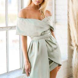 Always Celebrating Sage Green Satin Off-the-Shoulder Mini Dress   Lulus (US)