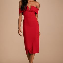 My Favorite Night Red Off-the-Shoulder Bodycon Midi Dress   Lulus (US)