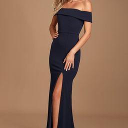 Aveline Navy Blue Off-the-Shoulder Maxi Dress   Lulus (US)