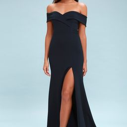 Song of Love Navy Blue Off-the-Shoulder Maxi Dress   Lulus (US)
