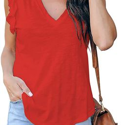 Valphsio Womens Casual V Neck Blouse Tops Frilled Ruffles Solid Sleeveless Tanks | Amazon (US)