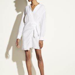 Long Sleeve Wrap Shirt Dress   Vince LLC