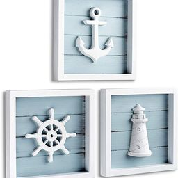 """TideAndTales Nautical Wall Decor Set of 3 (7""""x7"""") Rustic Beach Decor with 3D Anchor, Lighthouse a... 